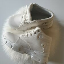 New Womens Girls White Ankle High Top Trainers Combat Ankle Boots Size UK 3 / 36