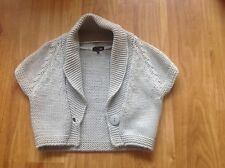NEXT Ladies Grey Chunky Soft Knit Short Sleeve Cropped Cardi - Size M EXC COND