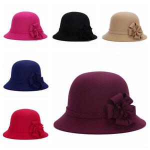 Women Ladies Wool Flower Floral Felt Hat Cloche Church Bucket Cap Solid Fashion