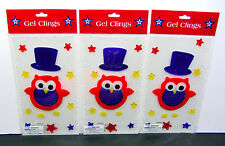 GEL CLINGS (LOT OF 3) 4TH OF JULY Top Hat Owl STARS WINDOW DECOR (3) Sheets NEW