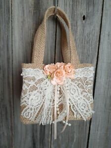 Burlap and lace flower Girl Basket, Rustic, hippie, boho, peach