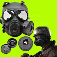 M04 Dummy Gas Mask FAN CANISTER Wargame paintball Protection Goggle airsoft bk