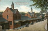 Saratoga Springs NY D&H RR Train Depot Station c1910 Postcard