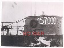 WWII ORIGINAL GERMAN WAR PHOTO EMBLEM ON TOWER U-BOAT / U-BOOT