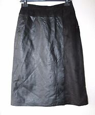 Women's Vintage High Waist Mid Calf Black Soft 100% Leather Skirt Size UK6 W26""