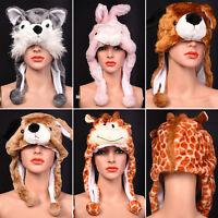Cute New Plush Unisex Cartoon Animal Kids Winter Hood Hat Fluffy Warm Cap Beanie