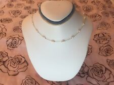 Dainty Necklace Pearl Silver Beads 14K Gold Field Chain Spring Ring Birthstone