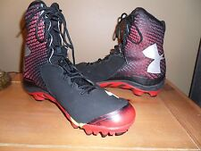 MENS UNDER ARMOUR BRAWLER CLUCH FIT SPINE HIGH TOP SHOES CLEATS RED BLACK SZ 10