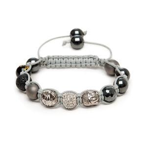 Shamballa Gemstone Bracelet Black Onyx Pave Crystal Om Prayer Lava Buddha UK