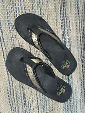 Tigerlily Envy Platform Wedge Flip Flop Thong Sandals Womens 10 Black Rhinestone