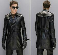 Men's Leather Jacket Double breasted Lapel Mid Long Slim Fit Coat Outwear Fall