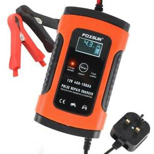 Car Motorcycle Battery Charger 12V Automobile Intelligent Pulse Repair LCD Kit