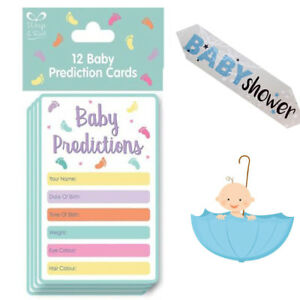 12 Baby Shower Prediction Card Game Guess Girl or Boy Weight & Date Fun Partying