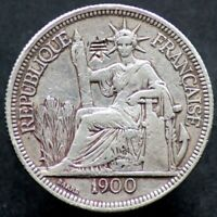 PIASTRE DE COMMERCE 1900 INDOCHINE / INDOCHINA (Argent / Silver) chopmarks