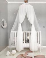 Tüll Baldachin Betthimmel Baby Bett Kinderbett Moskitonetz Zelt Weiß Grau Rosa