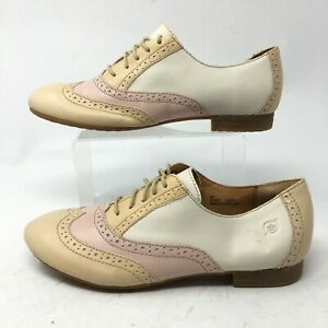 Born Womens 9M Wingtip Oxford Casual Lace Up Shoes Pink Beige Leather D37037
