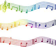 Colorful Music Notes Edible Cake Topper ~ 1/4 Sheet Designer Strips!!! ~ D22422