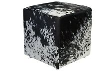 Cowhide Pouf Ottoman Cube Color Salt and Pepper Black, TOP Quality