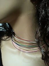 6 Fashion Slim Stainless Steel Memory Wire Necklace Choker Cord Cable
