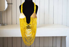 brass necklace. African tribal jewelry African maasai yellow necklace. African