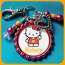 Personalized HELLO KITTY Bottle Cap - Pendant Name Necklace Jewelry Zipper Pull