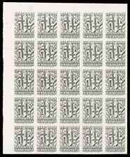 Spain - BARCELONA 1941 20c TELEGRAPH STAMP - 25 PLATE PROOFS IN BLOCK OF 25