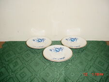 """3-PIECE PRIORY DALE DERBYSHIRE BONE CHINA """"BLUE ROSE"""" 4 1/2"""" SAUCERS/CLEARANCE!"""