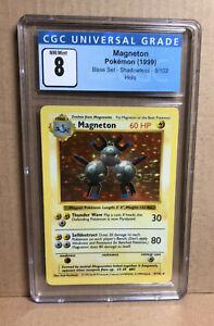 Graded Pokemon Base Set 9/102 Shadowless Magneton Holo CGC 8 PSA Equivalent