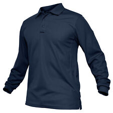 Mens Tactical Long Sleeve Polo T-Shirt Military Army Hiking Work Golf Shirts Top