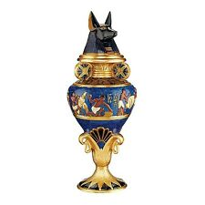 "Design Toscano 17"" Hand Painted Bright Egyptian Palette Grand Anubis Lidded Urn"