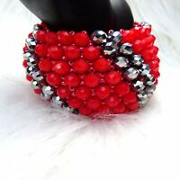 Red and Silver Beaded Bracelet crystal Bracelet Magnetic Clasp Jewellery