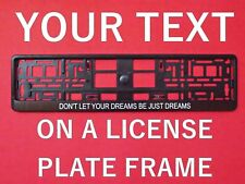 Custom Personalized Euro UK License Number Plate Holder Frame With YOUR TEXT