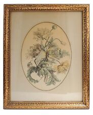 Fine Vintage Antique Water Color Flower Painting print Wood Framed with Glass