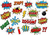 COMIC SOUND EFFECTS SPEECH BUBBLES STICKER WALL DECO DECAL SUPER HEROES lot CS