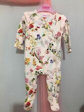 Baby Girls Designer Ted Baker Pink Floral Alphabet Babygrow Sleepsuit 3-6m💕