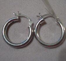 Hoop Earrings in .925 Sterling Silver with Saddleback Closure