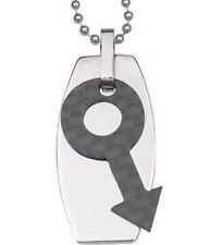 Pride Shack - Male Slanted Symbol Mens Gay Pride Pendant Necklace Dog Tag