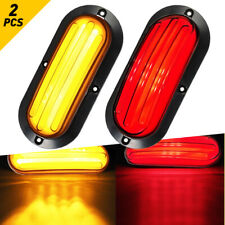 2x Trailer Truck LED Oval RED Stop Sequential Amber Turn Signal White Tail Light