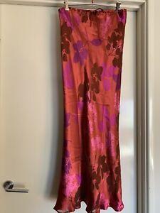 Monsoon Silk Blend Maxi Skirt UK14 Rust & Purple Floral Satin