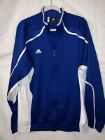 Adidas Mens Climalite Performance Jacket Large Full Zip Blue White Stripe L/S