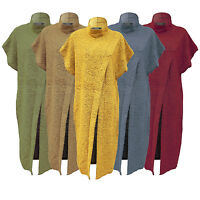 Women Knitted Baggy Long Jumper Dress Ladies Polo Neck Front Split Jumper Top