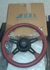 Volante Sportivo in Pelle Rossa con Mozzo Fiat  Diametro 38 Cm Nuovo - Vintage!