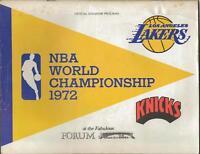 Los Angeles Lakers vs New York Knicks 1972 World Championship Program