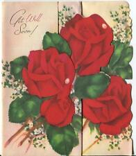 VINTAGE MID CENTURY RUBY RED GARDEN FLOWERS ROSES BABY'S BREATH DEW DROPS CARD