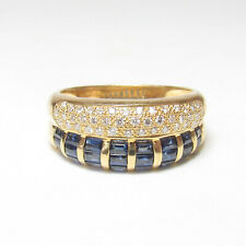 Estate 18K Yellow Gold 24 Natural Cobalt Blue Sapphire And Diamond Ring 1.75 Cts