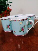"""Laura Ashley Kaleidoscope Pattern Set of 4 Coffee Cups 3""""H Blue Floral Pattern"""