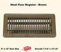 "Brown Metal Floor Register A//C Heat Damper 4/"" x 8/"" White 1-10 Pack Available"