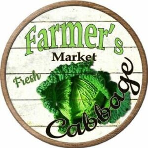 """FARMERS MARKET CABBAGE 12"""" ROUND LIGHTWEIGHT METAL SIGN DECOR RUSTIC"""