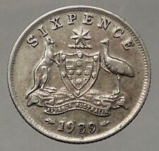 1939 AUSTRALIA - Sixpence SILVER Coin - UK King George VI Coat-of-Arms i57824