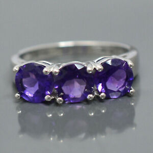 6MM Round Natural Amethyst Gemstone 925 Sterling Silver Cluster Anniversary Ring